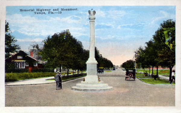 Memorial Highway and monument - Tampa, Florida. 19--?. Color postcard. State Archives of Florida, Florida Memory. Accessed 16 Aug. 2016.